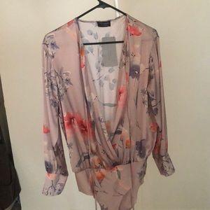 2 Zara bodysuits tan/peach/floral
